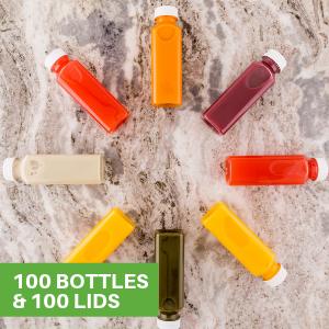 Drink fresh juices, blended smoothies, sweet milkshakes, and more in plastic juice bottles.