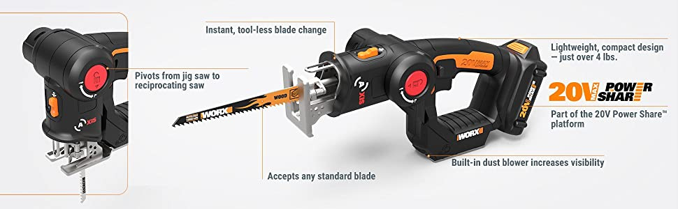 Worx wx550l 20v axis 2 in 1 reciprocating saw and jigsaw with view larger greentooth Image collections