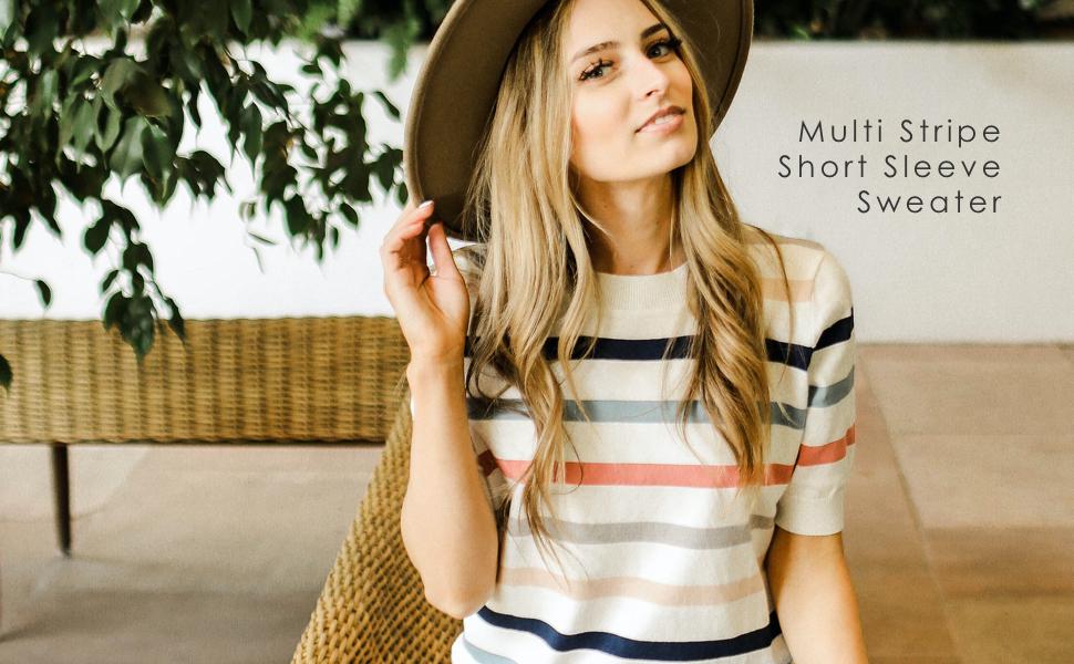 downeast sweater clothing multi stripe short sleeve sweater