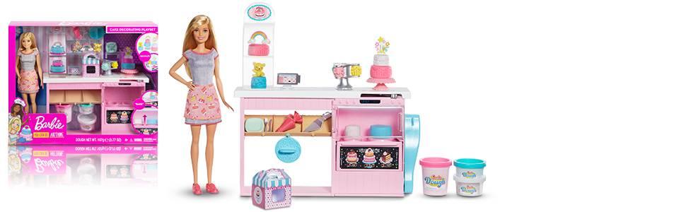 Barbie- Cake Design, Playset Pasticceria con Bambola Inclusa e Accessori Decorazione Torte