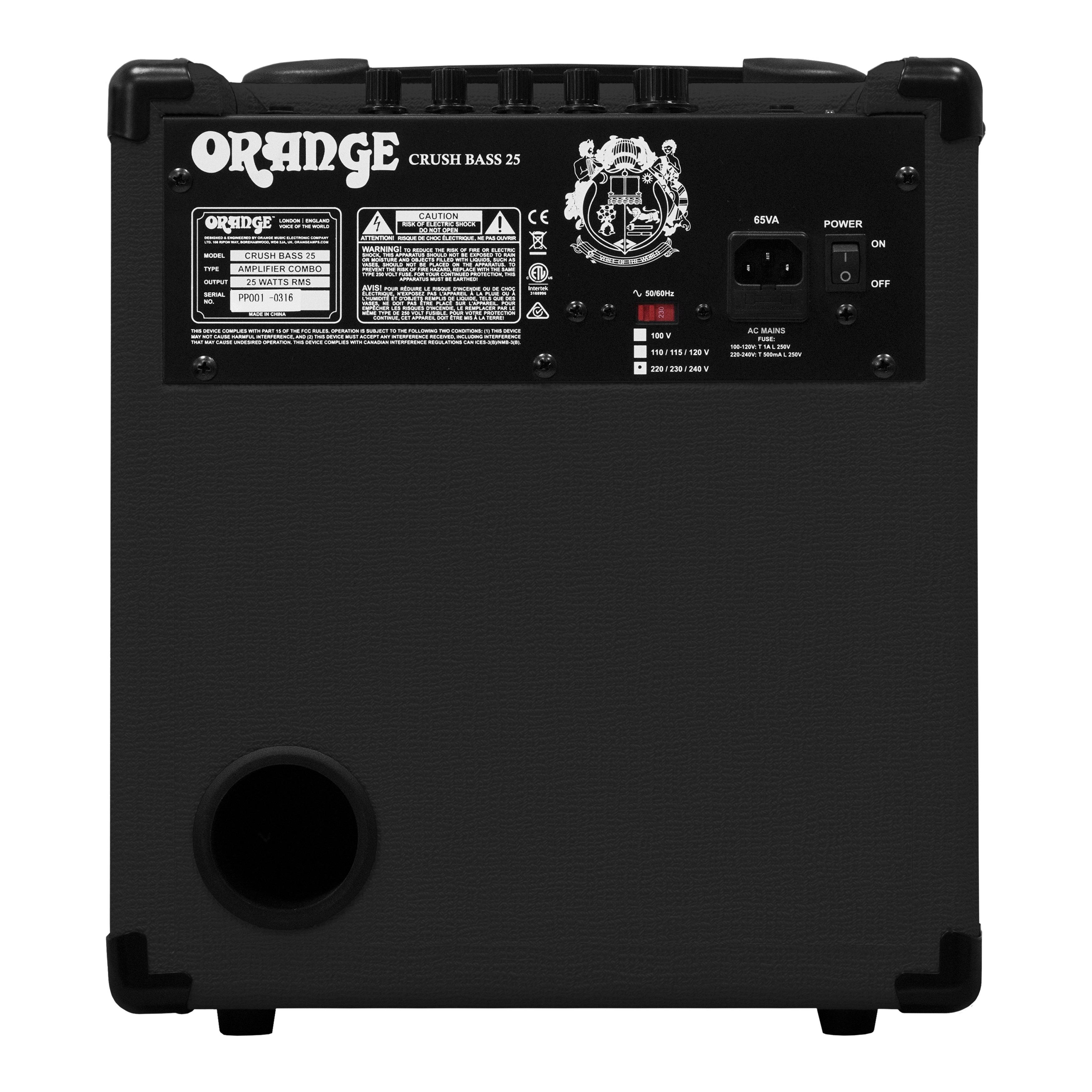 orange crush bass 25w bass guitar combo amp black musical instruments. Black Bedroom Furniture Sets. Home Design Ideas