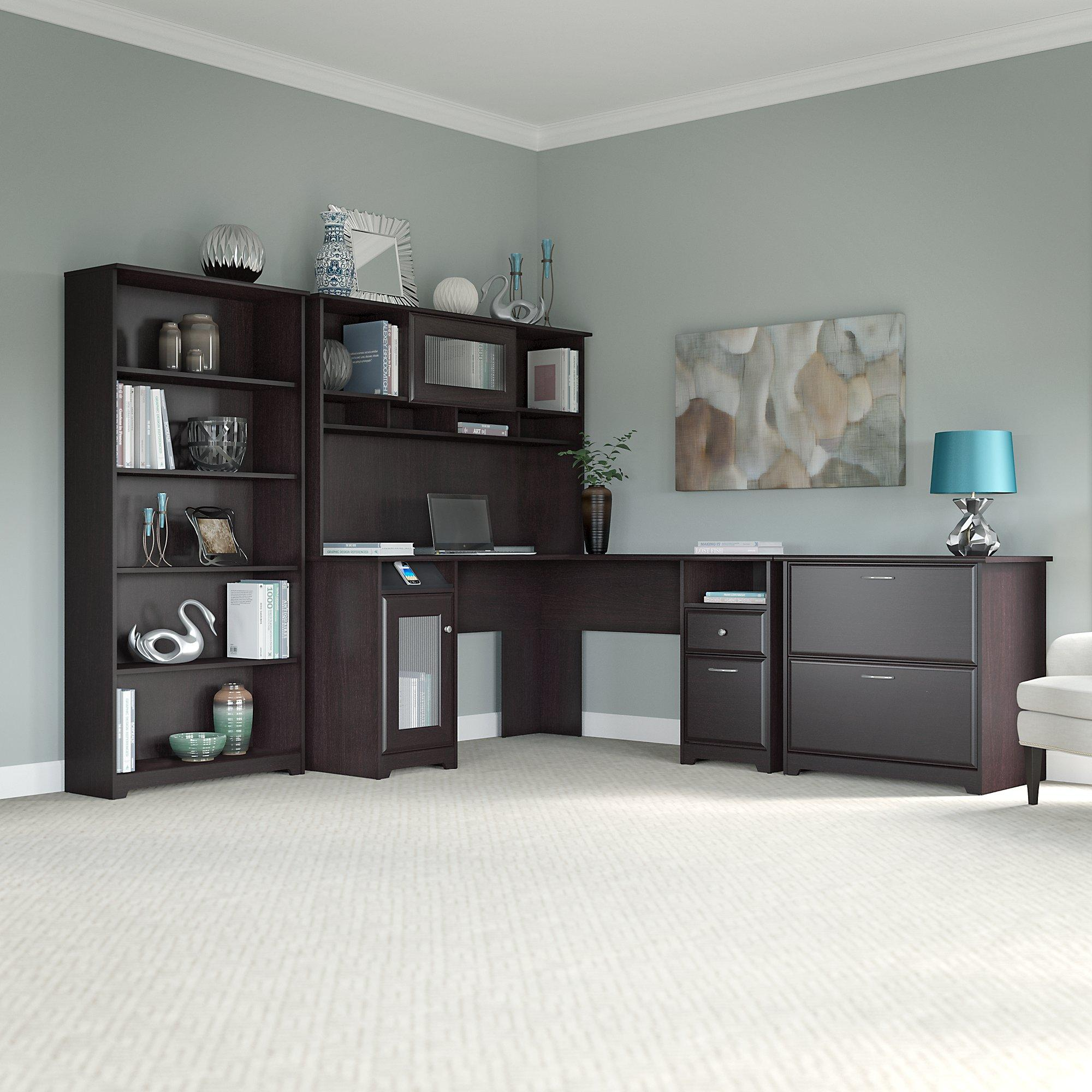 Amazon Com Cabot L Shaped Desk With Hutch Lateral File