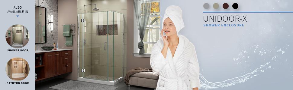 DreamLine, shower, shower doors, best shower, frameless hinged shower enclosure, shower enclosures,