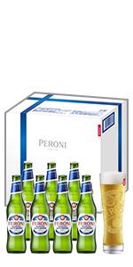 お酒 酒 洋酒 アルコール 5.1度 ビール イタリアンビール プレミアムビール ペローニナストロアーズロ ペローニ ナストロ アズーロ  イタリア 330ml グラス付き グラス グラスセット