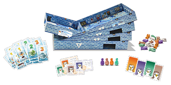 Game Contents: 4 Plastic Penguins, 5 Cardboard Boxes (rooms), 16 Fish Tokens, 62 Cards, Game rules