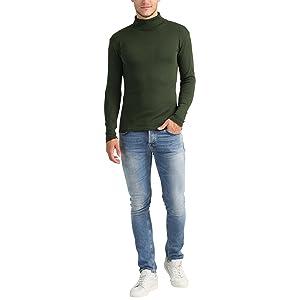 Lower East Camiseta con cuello alto Slim Fit para hombre, Azul ...