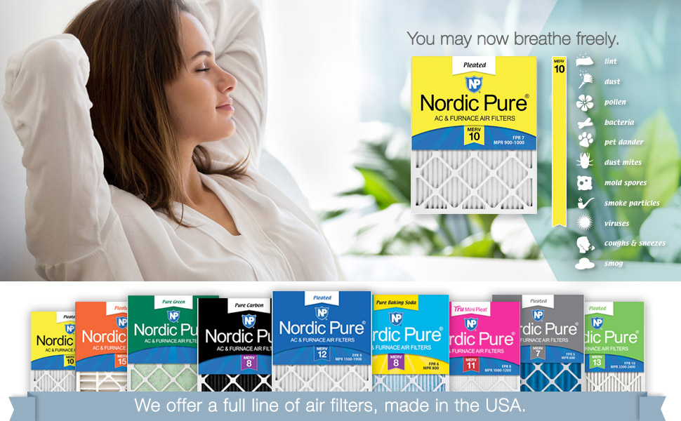 16x25x2 Nordic Pure 16x25x2M7-3 MERV 7 Pleated AC Furnace Air Filter Box of 3 by Nordic Pure
