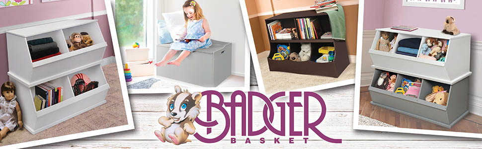 Wooden Hamper//Storage Organizing Unit with 3 Cloth Drawers Badger Basket 00122