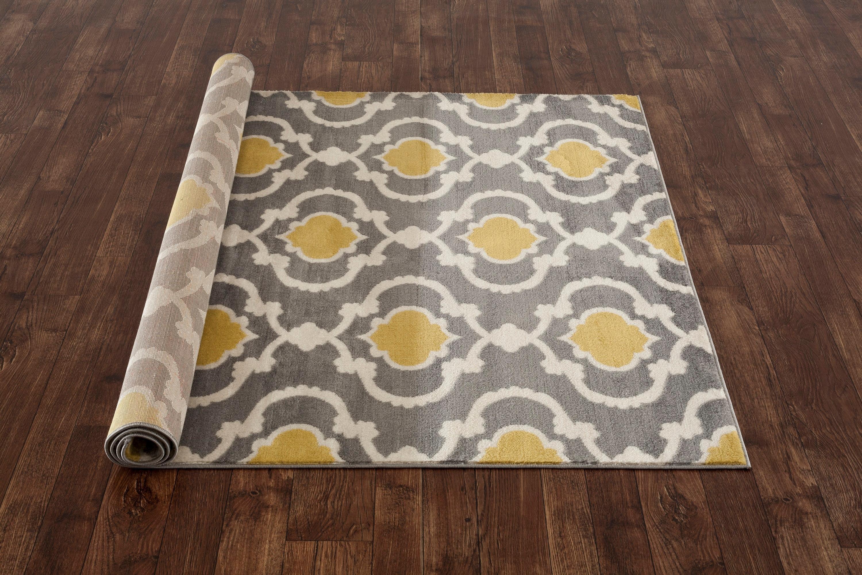 Amazon Com Moroccan Trellis Contemporary Gray Yellow 5 3