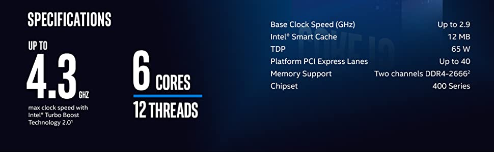 10th Gen Intel Core i4-10400 Desktop Processor