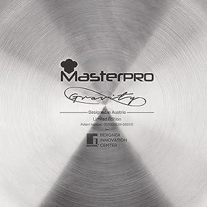 Masterpro PK1277 Gravity Set de sartenes 20/24/28 + grill 28 cms. Aluminio prensado, inducción