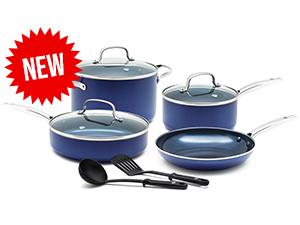 Bleu Diamond, cookware, set, frypan, casserole, saucepan, nonstick