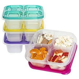 EasyLunchboxes Snack Box Food Containers 4-Compartment, Set of 4