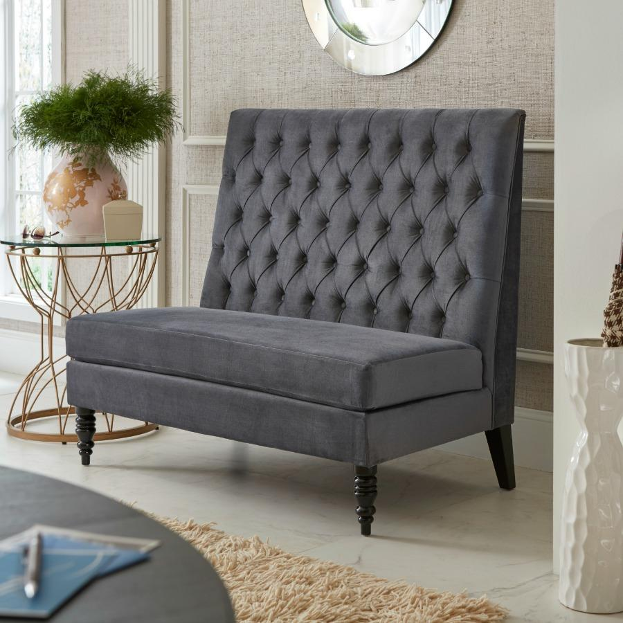 Pulaski Button Tufted Upholstered Settee In Tucar Velvet