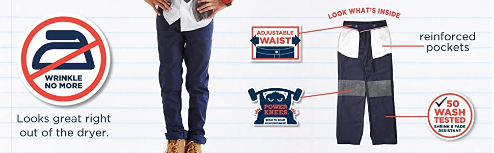 relaxed fit, pant, boys, uniform, wrinkle resistant, adjustable waist, fade resistant, school