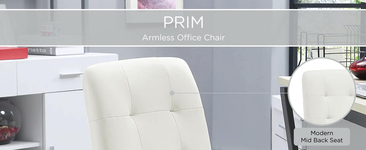 armless office chair,deep tufted buttons,skilled faux leather upholstery,elegant trim