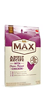 Nutro max adult recipe dry dog food, dog kibble, dry dog food, chicken, protein, food for dogs