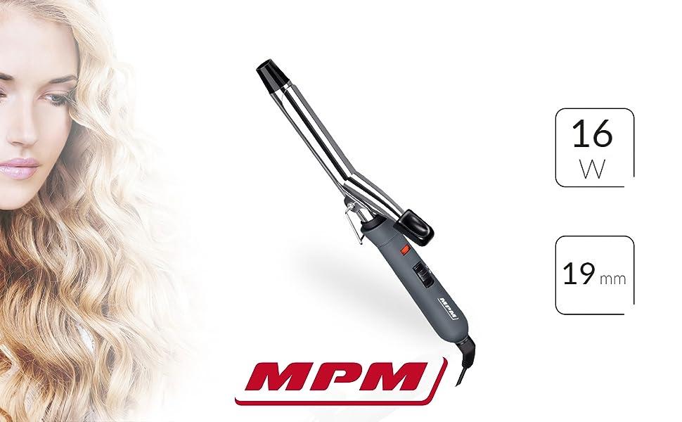 MPM Rizador de pelo eléctrico 19mm con regulador de temperatura placas de cerámica MLO-03: Amazon.es: Belleza