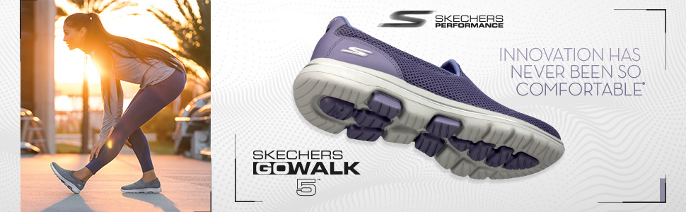 New Skechers Ladies Go Walk Slip On Shoes GoGa Mat Purple Grey Pick Color Size