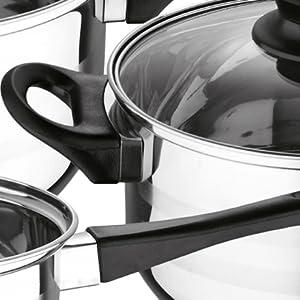 Batería de cocina 5 PCS San Ignacio Acero inoxidable Asas y pomos ergonómicos negro siempre fríos