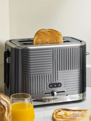 Russell Hobbs 25250 Geo Steel 2 Slice Wide Slot Toaster - Faster Toasting Technology