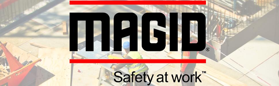 Magid, Glove, Safety, Work, Logo, Black, Red