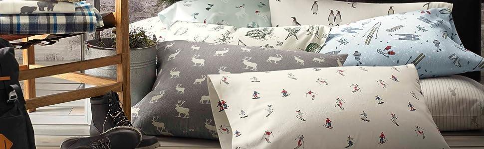 Amazon.com: Eddie Bauer Elk Grove Flannel Sheet Set, Queen