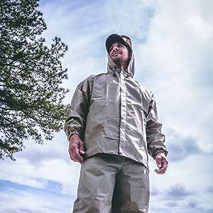 Man in rain suit