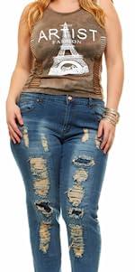 Repaired plus jeans