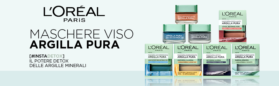 Argilla pura, maschera, detox, maschera viso, loreal, loreal paris, cura della pelle, purificante