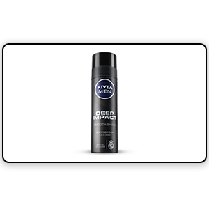 A bottle of Nivea Deep Impact Shaving Foam
