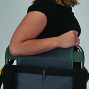 Woman carrying portable GCI Outdoor seat using shoulder strap
