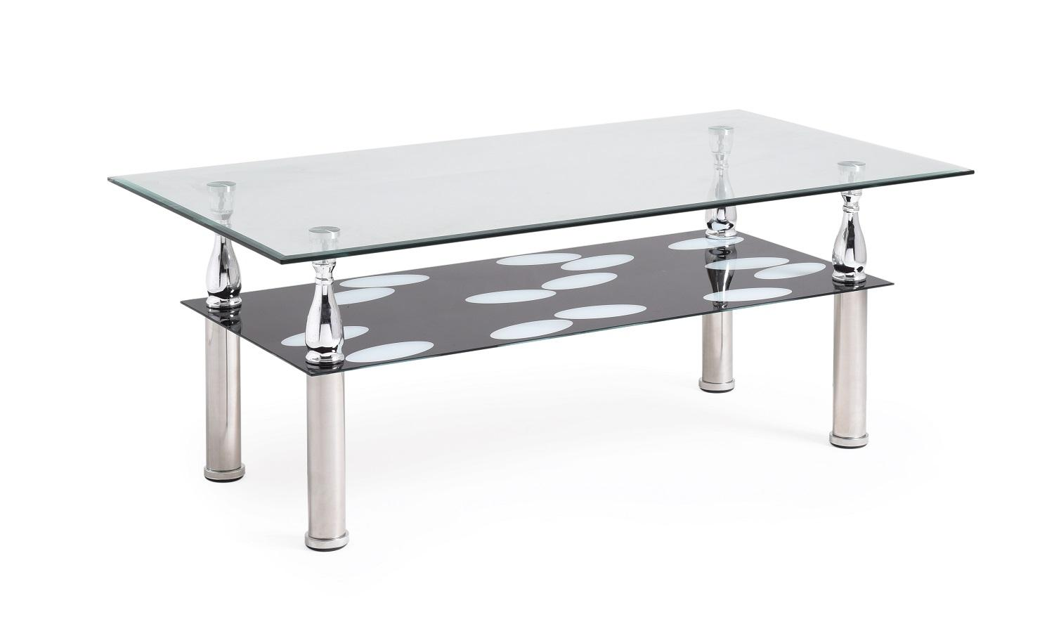 Hodedah Two Tier Rectangle Tempered Glass Coffee Table Kitchen Dining