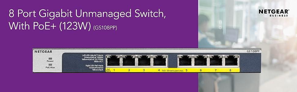 8 port gigabit unmanaged switch with poe+ 123w