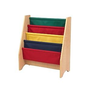 KidKraft 14221 Librería infantil de tela y madera con 4 compartimentos de almacenaje, muebles para salas de juego y dormitorio de niños - Color ...