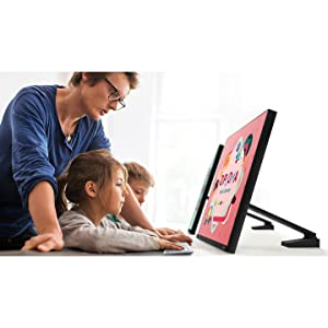Samsung Space Monitor at surface level for children