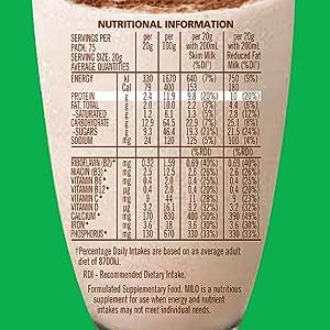 nestle milo chocolate malt powder nutritional information