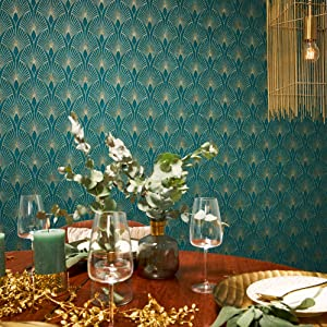 Vliesbehang Art Deco Look Metallic Grafisch Moderne Woonkamer Slaapkamer Eetkamer Kinderkamer