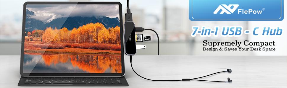 USB C Hub for iPad Pro - 7 in 1 Portable Multiport Adapter | USB Chub