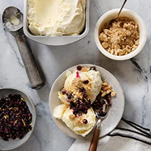 Sweet Corn Ice Cream with Brown Sugar Crumble and Wild Blueberries