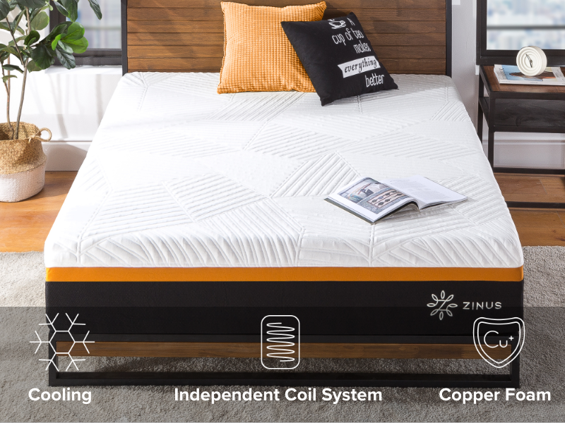 mattress front view with feature icons