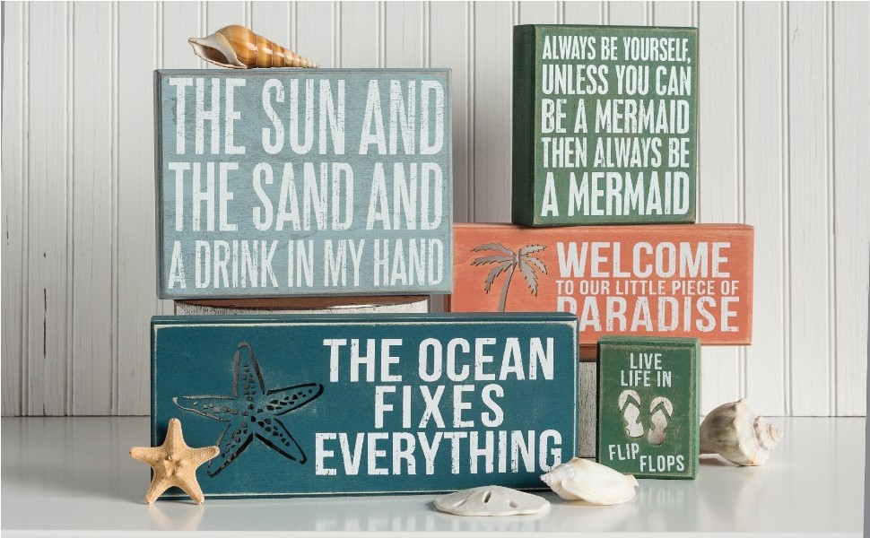 beach gift decor wall kitchen dish tea towel signs decorations