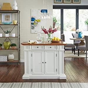 Amazon.com: Home Styles 5002-94 Kitchen Island, White and Distressed ...