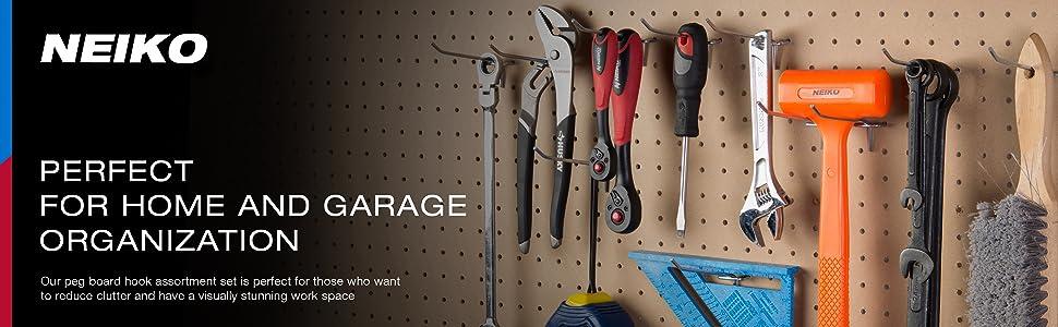 home organization peg board hook assortment