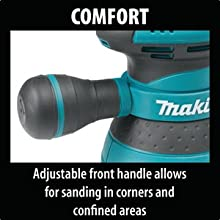 comfort adjustable front handle sanding handling corners confined areas grip hand hold move
