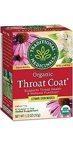 Traditional Medicinals Organic Throat Coat Lemon Echinacea Seasonal Tea