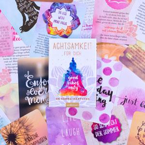 Achtsamkeit für dich, Karten, bunt, viele Karten, Buddha, Sprüche, Aufgaben, Punkte