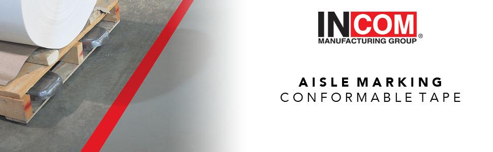 Aisle Marking, INCOM Manufacturing, Conformable Tape, Aisle Tape,