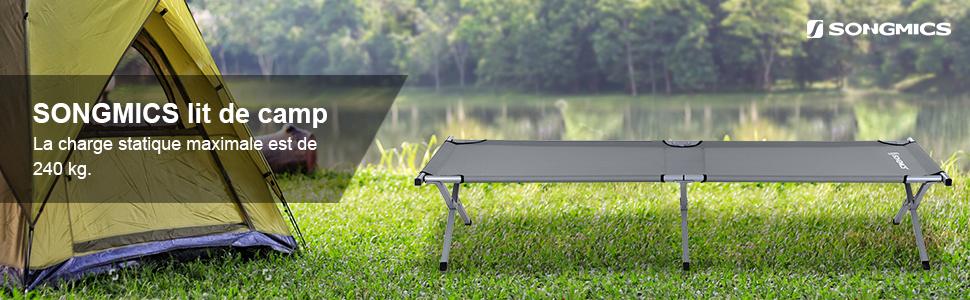 lit de camping pour ext/érieur pliable extra large int/érieur 204 kg Sportneer Lit de camping avec sac de transport pour adultes lit pliant lit de camp jardin