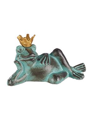 Tama/ño S Decoraci/ón Relaxdays Figura de Rana con Corona Rana tumbada Verde Hierro Fundido Impermeable